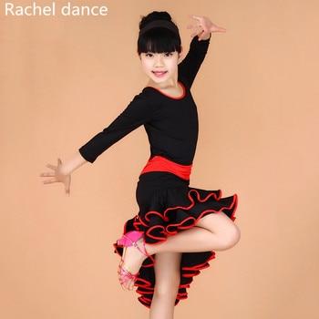 4868bc89 2019 vestido de baile latino con mangas largas para niñas falda de loto para  niños vestidos de baile de salón para niños Salsa Rumba Cha Samba Tango  vestido