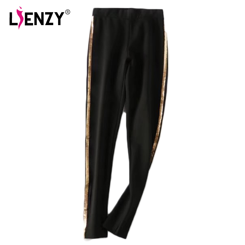 LIENZY Winter Fashion Women Skinny Pants Gold Sequins Side Strieps Black Women Pant Ankle Legnth Warm Ladies Bottom
