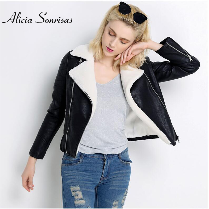 New 2018 Faux Sheepskin Shearling Winter Coat Women Black Warm Motorcycle Street Soft Lamb Fur Women Jacket UV301899
