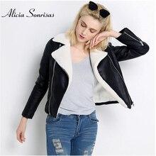 Yeni 2019 sahte koyun derisi Shearling kış ceket kadınlar siyah sıcak motosiklet sokak yumuşak kuzu kürk kadın deri ceket UV3018