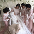 Long Sleeves Bridesmaid Gowns Peach/Ivory/Champagne/Silver/Coral/Burgundy Lace Applique Mermaid Bridesmaid Dresses Fast Shipping