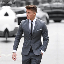 Custom Made 2018 Two Buttom Mens Suits Classic Gray Cotton Blended Formal Business Men's Wedding Suits Slim Fit Groomsmen Tuxedo