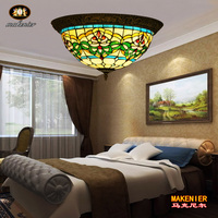 Makenier Vintage Tiffany Style Stained Glass Green Stripes Flower Flush Mount Ceiling Lamp 16 Inches Lampshade