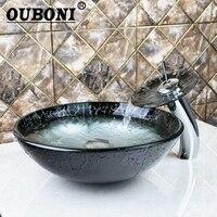 OUBONI Chrome Round Basin Tap Bathroom Sink Washbasin Tempered Glass Hand Painted Lavatory Bath Brass Set