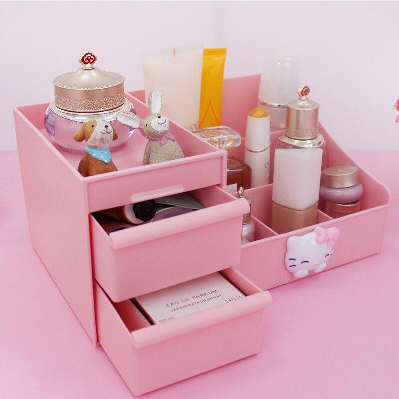 Cute CartoonHello Kitty Saves Space on Desktop Makeup Storage Drawer - box Cosmetic organizer Cosmetics Organization escritori.