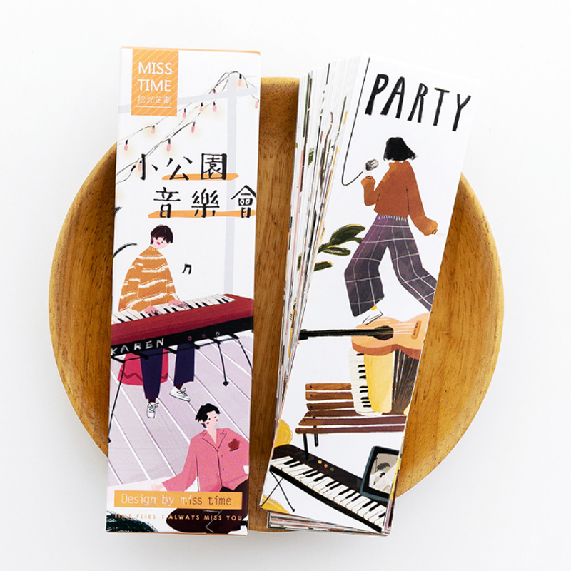 30pcs/box Creative Lovely Small Park Concert Bookmark Stationery Bookmarks Kawaii Cartoon Promotional Gift  School Supplies