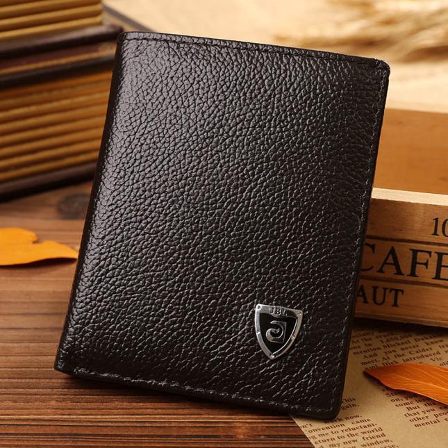 Cartera de hombre plegable de cuero de crédito/tarjeta de identificación billetera plegable Mini carteras para hombre monedero hombre peque o monedas cuero