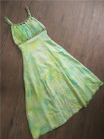 Summer dress silk print handmade beaded large size dress banquet dress woman