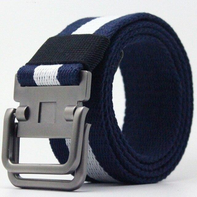 Lona cinturón hombres raya Metal cinturones tácticos de bucle doble hebilla  Correa tejida pantalones casuales regalo 6749768d2bd0