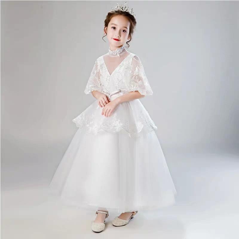 b87d663d93a8 New Arrival Girls Children Luxury Ball Gown Lace Appliques Floor Length  Flowers Princess Elegant Wedding Birthday