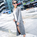 2015 Lady Wool Sweater Fashion Long Cashmere Cardigan Women Loose Sweater For Female Outerwear Coat With Pockets H5094