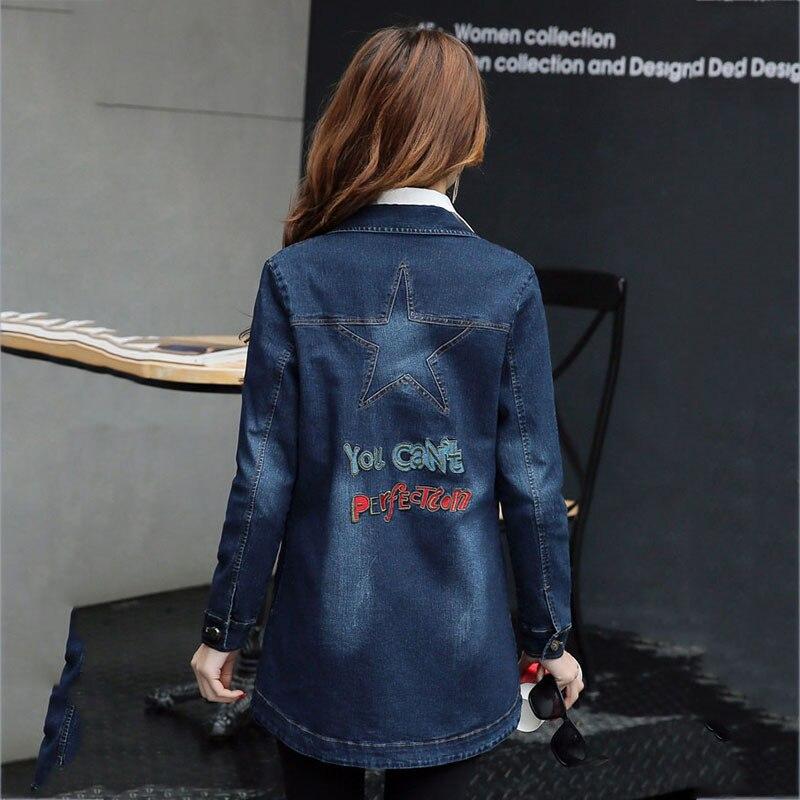 De Mode Nouveau Manteau Dames Longues 2018 Femmes Long À Ll961 breasted Femme Denim vent Printemps Navy Blue Coupe Survêtement Moyen Manches Single Slim IHWDE29