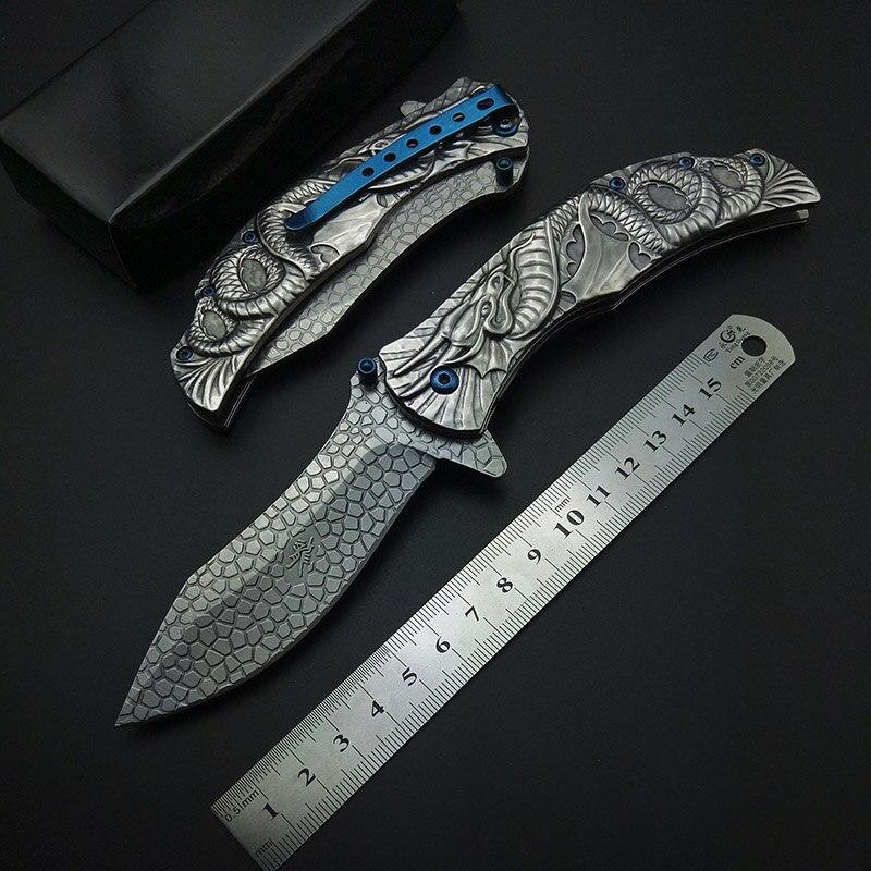 Argenteo Demone del Male Dragon Snake Scultura 3D Coltello Pieghevole con Clip Strumento di Coltelli Da Tasca Tutto In Acciaio Inox Freddo Per La Raccolta
