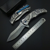 Silvery Demon Evil Dragon Snake Carving 3D Folding Knife with Clip Pocket Knives All Steel Stainless Cool For Collection Tool