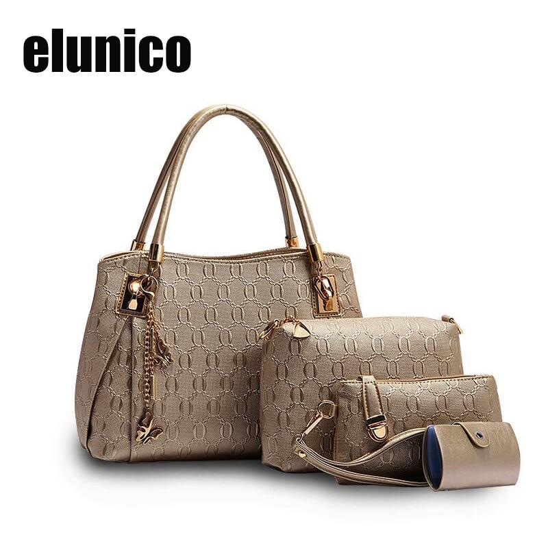Elunico 3 Bags font b set b font Fashion font b Handbag b font Women Messenger