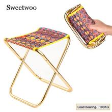 Outdoor Camping Fishing Stool Folding Chair Hiking Picnic Beach Travel Seat With Pouch 47l camping travel backpack with folding chair backpack and stool chair combo gear for outdoor hiking fishing