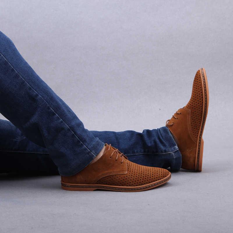 ROXDIA nowe mody wiosna lato zamszowe męskie codzienne buty mieszkania kierowcy obuwie oddychające zasznurować Plus rozmiar 39-48 RXM766