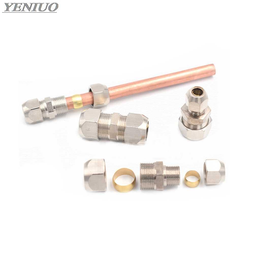 Raccord de Tube de virole de Compression 4-16mm tuyau en laiton Double carte ensemble de Joints en cuivre écrou de tuyauterie serrure Double droite