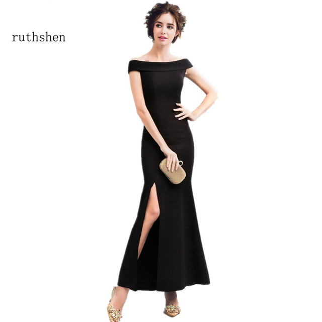 ruthshen Black Evening Dresses Long 2017 New Slit Side Sexy  Ladies Formal Prom Dress Cheap Special Occasion Gowns