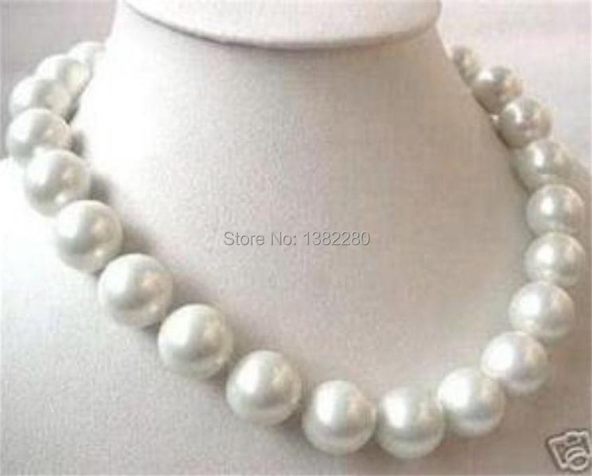 98ea100f873 WUBIANLU Wholesales designer jewelry big 14mm aaa white sea south shell pearl  necklace 18 inch fashion