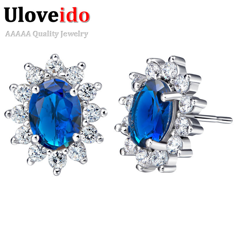 Uloveido Big Sale Earring with Blue Stones Christmas Presents for Friends Silver Earrings for Women Womens Fashion Bijoux R751