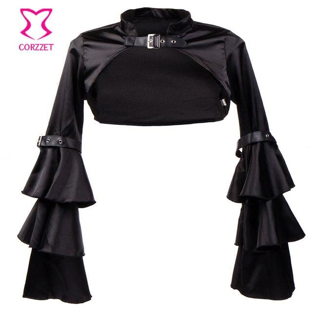 3-Pieces Punk Gothic Corset Jacket Skirt Sexy Black Set Burlesque Outfits Steampunk Couture Korsett For Women Corsets Steel Bone