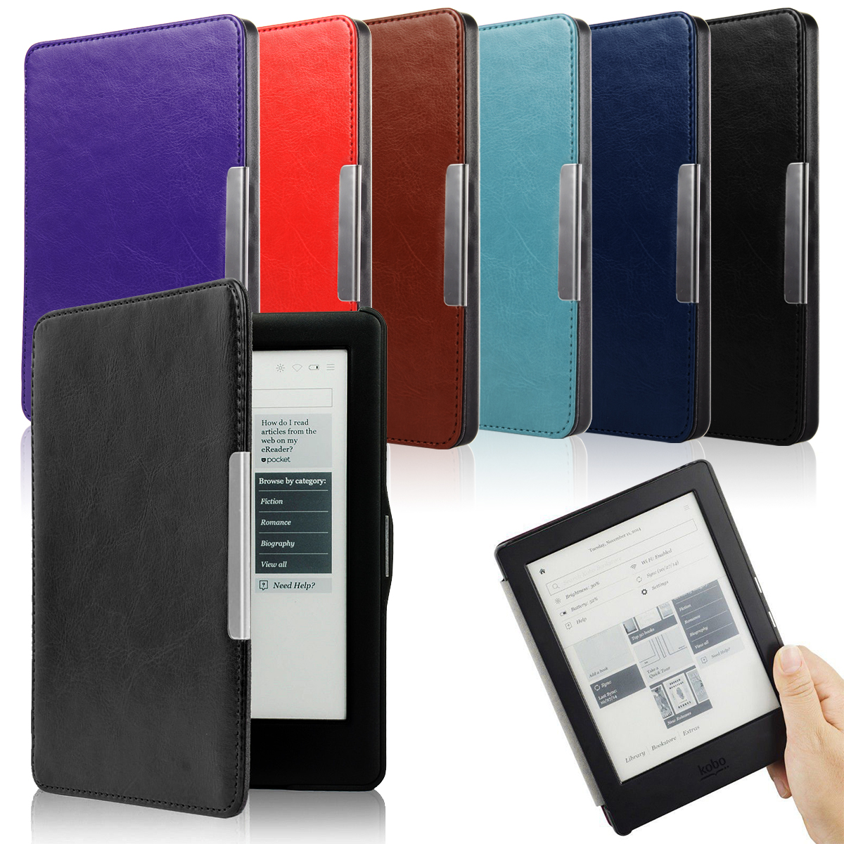 6.0 Synthetic Leather Flip Hard Smart Case Magnetic Clasp Slim Book Protect Cover Auto Sleep for KOBO GLO HD eReader PC734/9+