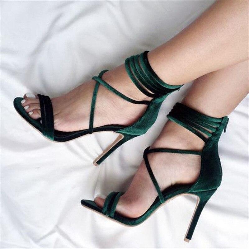 TINGHON Sexy High Heels Sandals Green Velvet Women Gladiator Sandals Women Summer Party Shoes Sandalias