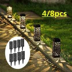 2/4/8 sztuk LED ogród światła słonecznego lampa trawnikowa płomienie krajobraz światła na zewnątrz Patio Yard wodoodporna ciepły biały