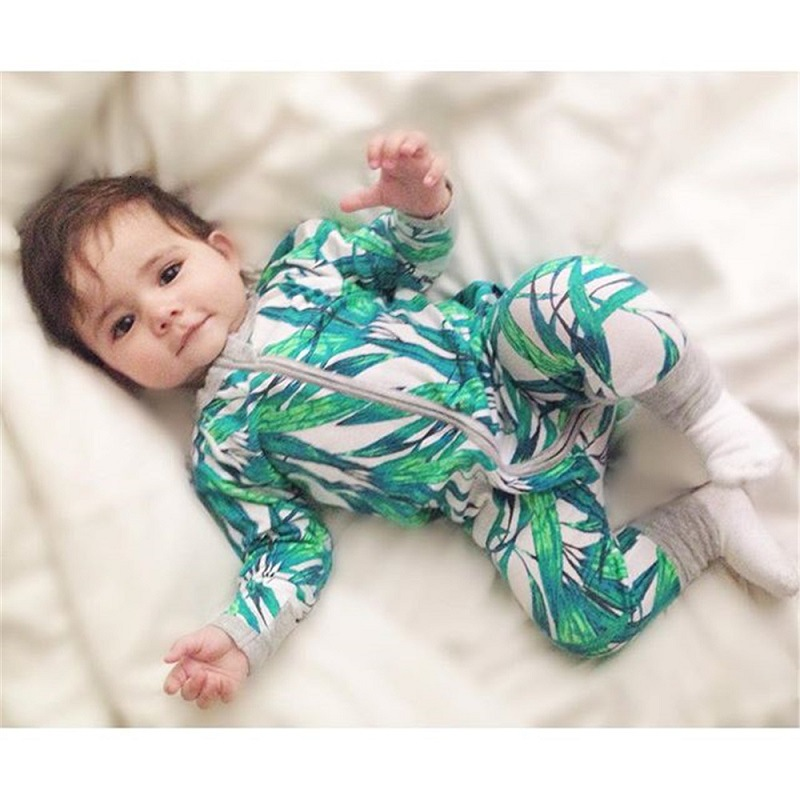 Newborn Baby Boy Clothes Infant Romper Long Sleeve Flower Print Baby Girl Rompers Jumpsuit Pajamas Baby Clothing BR107