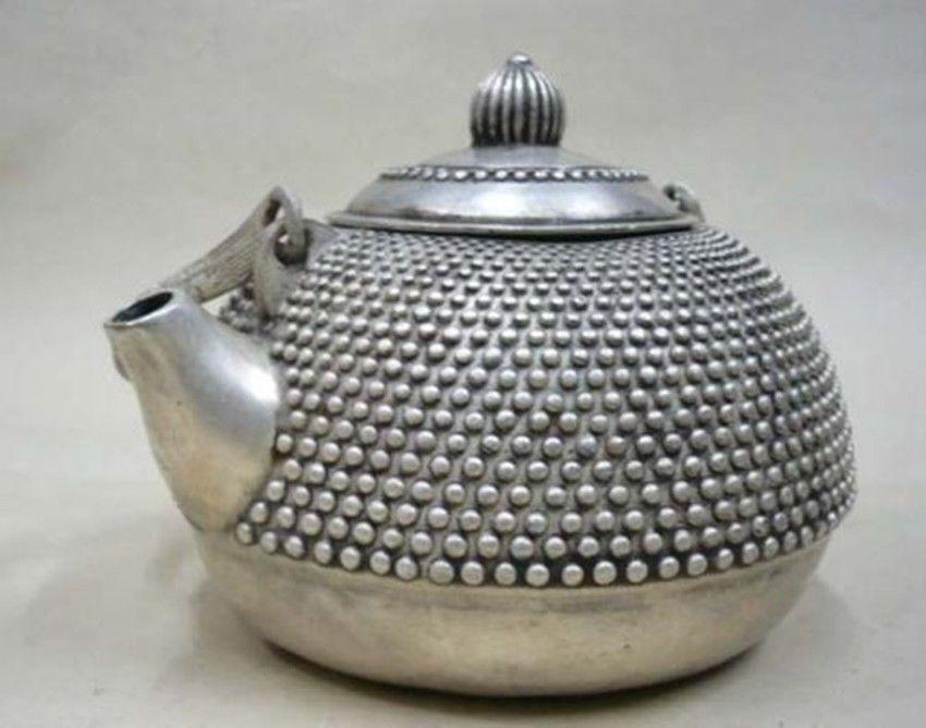 Tibet chinois argent belle théière portable
