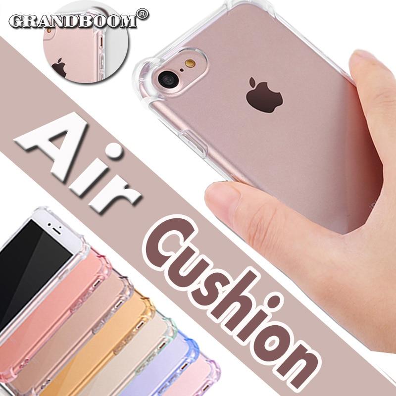 imágenes para Colchón de aire claro transparente crystal case tpu de goma suave de protección completa para iphone 5 5s 6 6s 7 7 plus 4.7 5.5 pulgadas 10 unids/lote