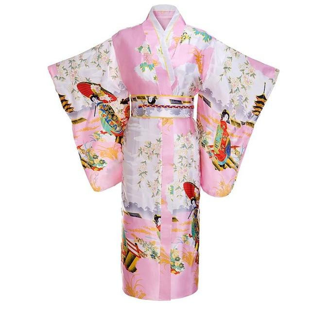 Pembe Kadın Lady Japon Gelenek Yukata Kimono Ile Obi Çiçek Vintage Abiye Cosplay Kostüm Bir boyut ZW03