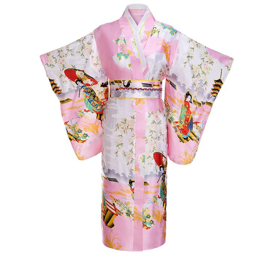 Pink Woman Lady Japanese Tradition Yukata Kimono With Obi Flower Vintage Evening Dress Cosplay Costume One Size ZW03