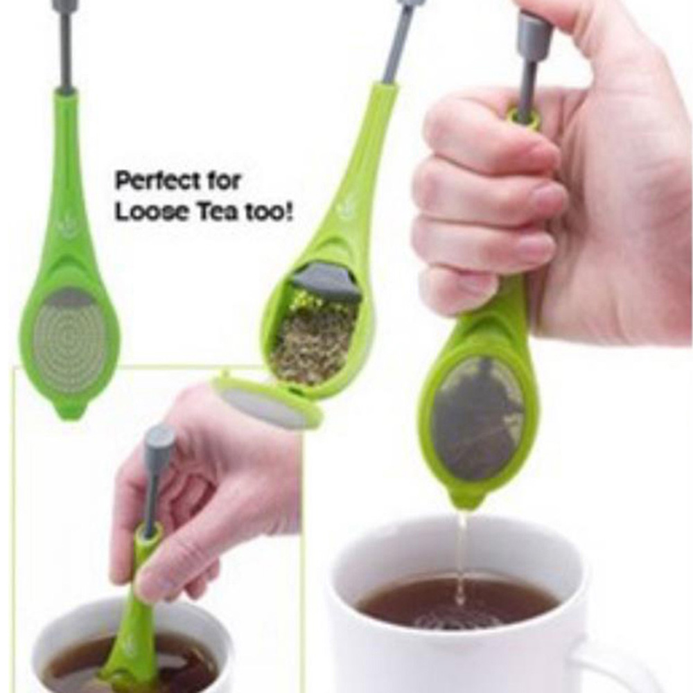 Tea Infuser Built-in Plunger Healthy Intense Flavor Reusable Tea Bag Plastic Tea&Coffee Strainer Measure Swirl Steep Stir Press