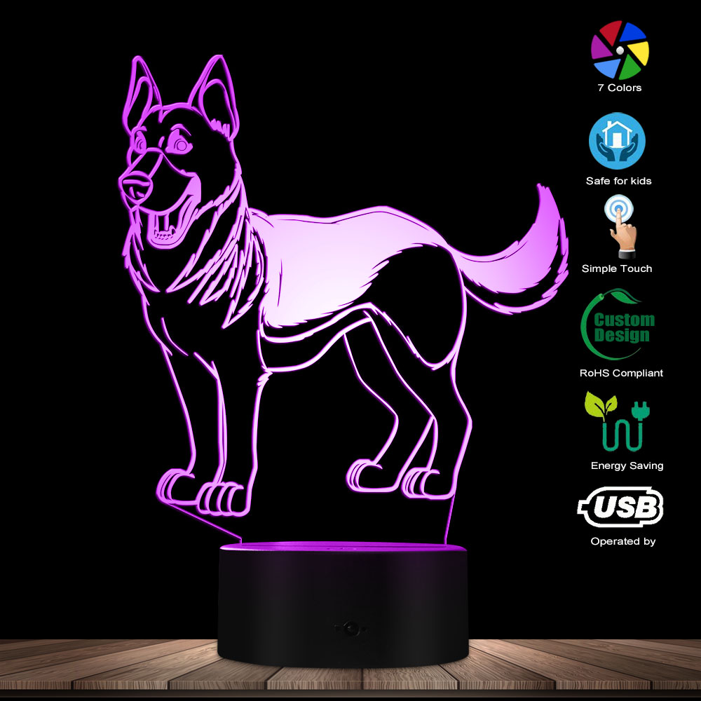 Cute Standing German Shepherd Shape Designed Multicolored Lamp 3D Optical Illusion Light Home Decor Pet Dog Puppy Table Lamp