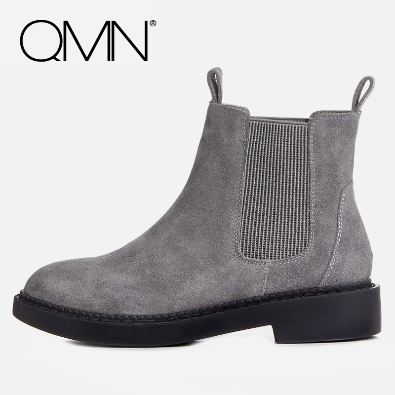 QMN women genuine leather ankle boots for Women Natural Cow Suede Chelsea Boots Slip On Leisure Shoes Woman Bootie Botas 34-43 qmn women crystal embellished natural suede brogue shoes women square toe platform oxfords shoes woman genuine leather flats