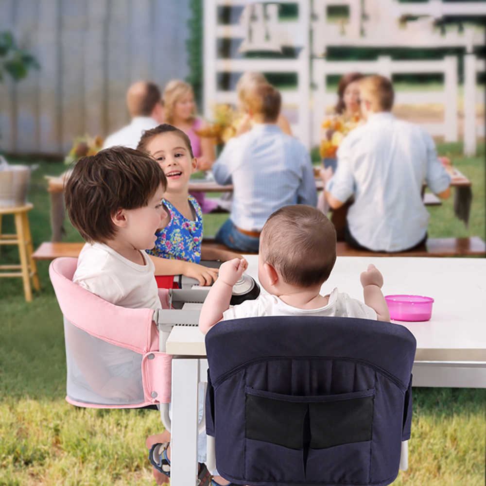 Baby Hook Chair Portable Baby Highchair Foldable Feeding Chair Seat Booster Safety Belt Dinning Hook On Chair Harness Infant Lunch Cushion Mat
