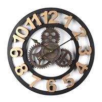 New 40cm Large Retro Slient Wall Clock Vintage Home Decor Quartz Watch Golden Numerals Gear Mute Hanging Clocks For Living Room