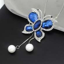 Длинное ожерелье с бабочкой и кисточкой Женские кулоны новые