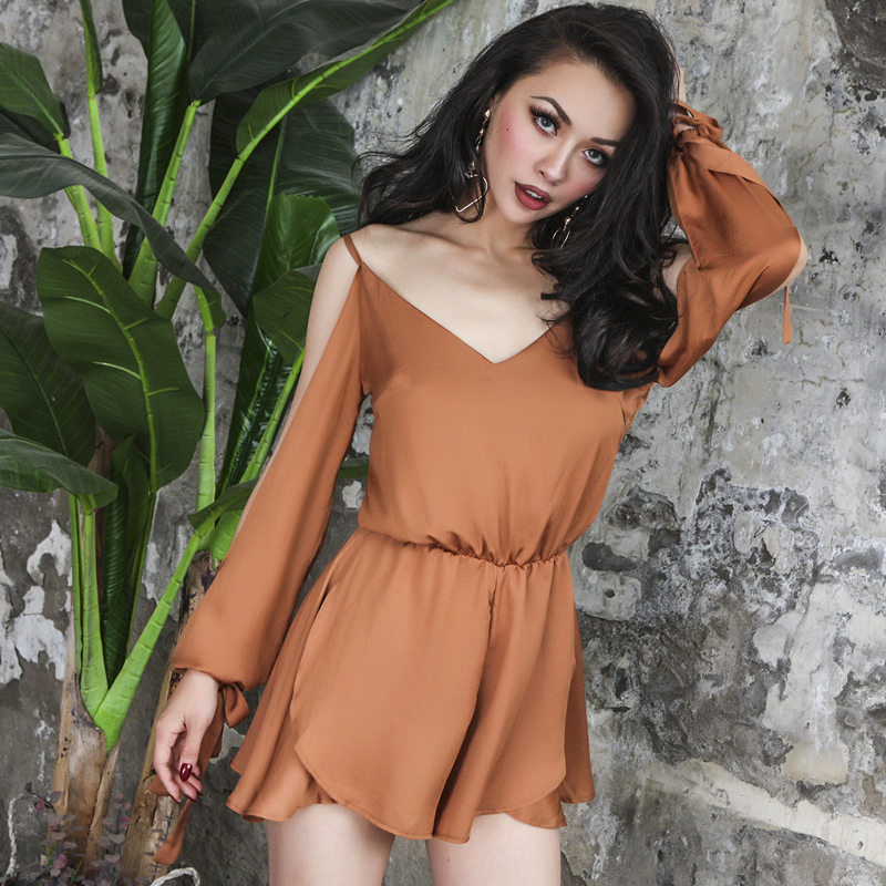2020 Summer Essential Off Shoulder Short Jumpsuit Women Smooth Satin Loose Playsuits Long Sleeve High Rise Elastic Waist