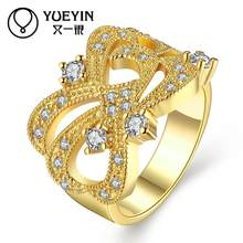women's gold color rings wedding jewelry zircon jewelry anillos mujer bijoux women wedding rings Inlaid Crystal(China)