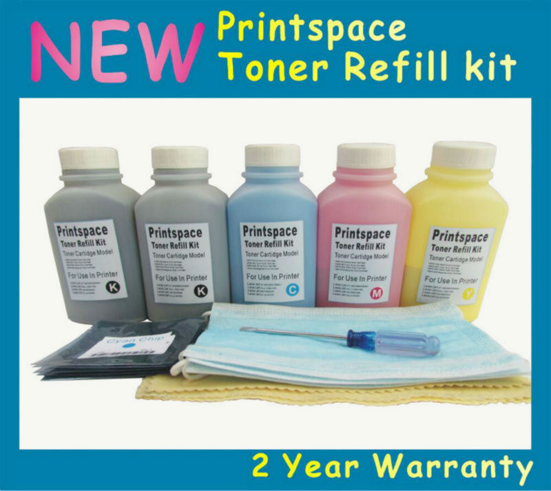 5x NON-OEM Toner Refill Kit + Chips Compatible For Fuji Xerox Phaser 6115 6115MFP 6120 6120N 2BK+CMY