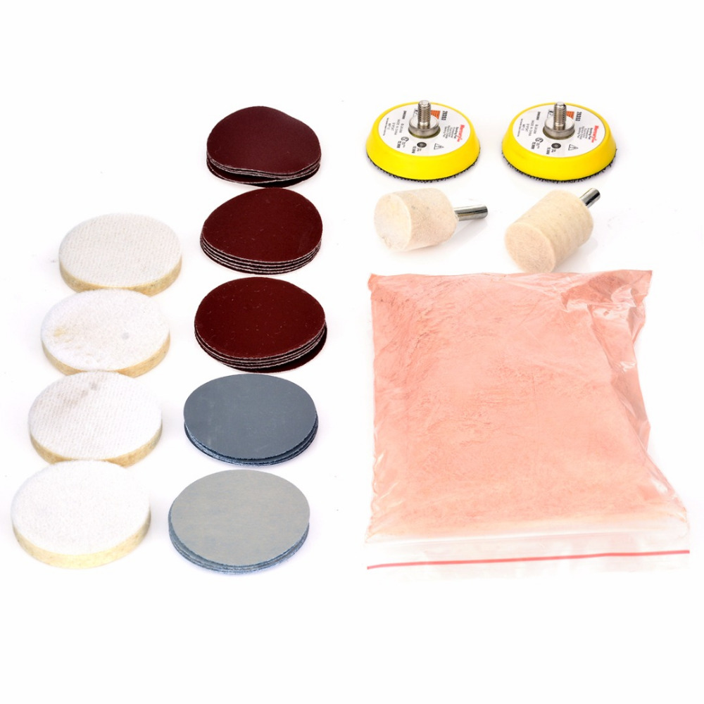 34pcs Deep Scratch Remove Glass Polishing Kit 8 OZ Cerium Oxide + Sanding Disc + Wool Polishing Pads+Felt Polishing Wheel Mayitr
