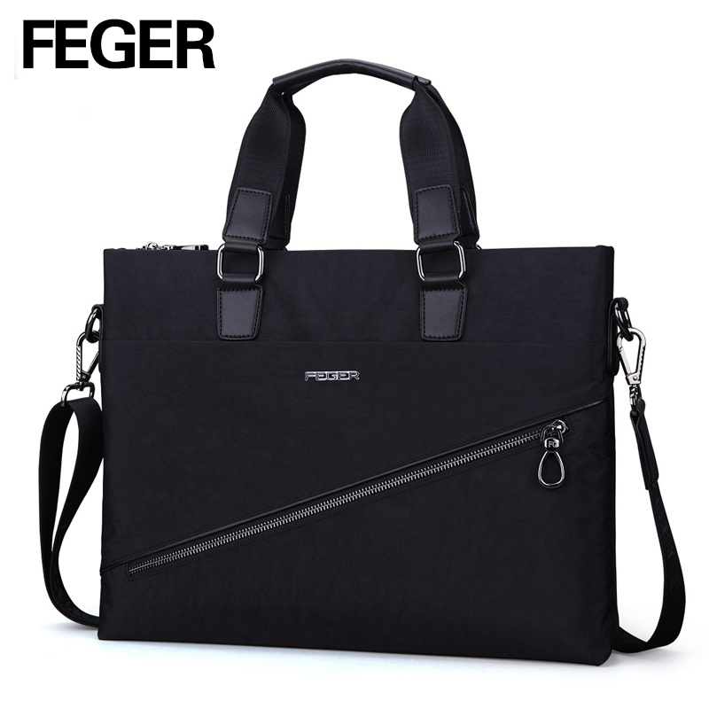 FEGER Business Mens Nylon Tote Handbag Big Volume Soft Briefcase Bag for 13 Laptop Free Shipping feger nylon men bag business briefcase handbag shoulder bag daily use 13laptop bag free shipping
