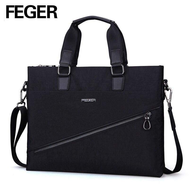 FEGER Business Mens Nylon Tote Handbag Big Volume Soft Briefcase Bag for 13 Laptop Free Shipping