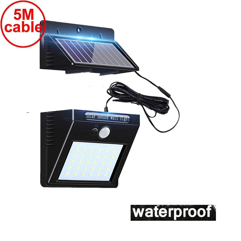 Işıklar ve Aydınlatma'ten Güneş Lambaları'de 30 led güneş işık ayrılabilir paneli su geçirmez IP65 motion sensörü yard çim veranda fener güvenlik acil durum spot lamba 5M title=