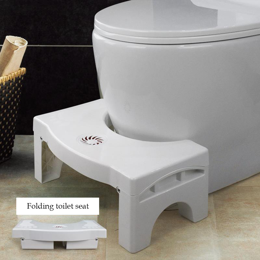 Plastic Folding Toilet Stool Squatting Stool With Replaceable Spice Box Adjustable Height Children Adult Bathroom Toilet Stool
