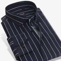 High Quality shirt without chest pocket 100% cotton soft slim striped fashion men dress shirts non iron easy care male tops
