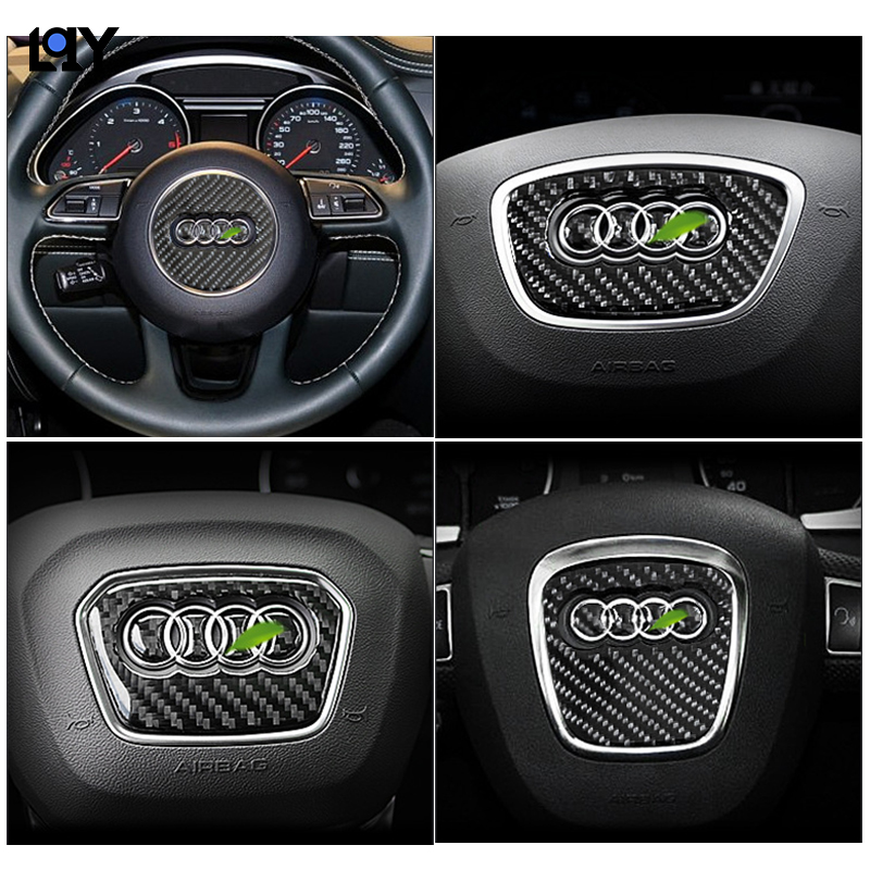 LQY Car Sticker Carbon Fiber Steering Wheel LOGO Decoration 3D Sticker For Audi Q5 Q3 Q7 A3 A1 A5 Q2 Q5LA4L A6L Car Accessories